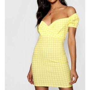 1 left! NWT yellow gingham Bardot mini dress